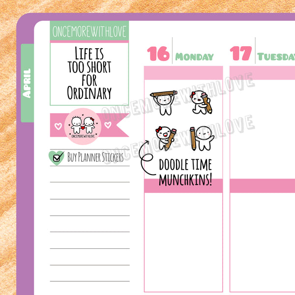 M294 - Doodle Art Time Drawing Munchkins with Pencils Munchkin Planner Stickers (FINAL STOCK)