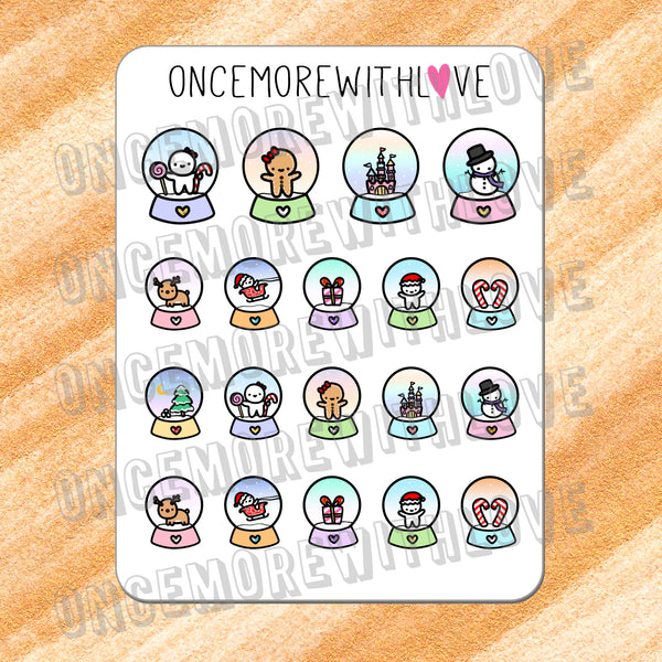 VAULT // M348 - Winter Festive Holiday Snow Globes Munchkin Planner Stickers