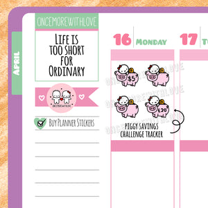 Munchkins - Piggy Bank Savings Challenge Tracker Planner Stickers (M357)