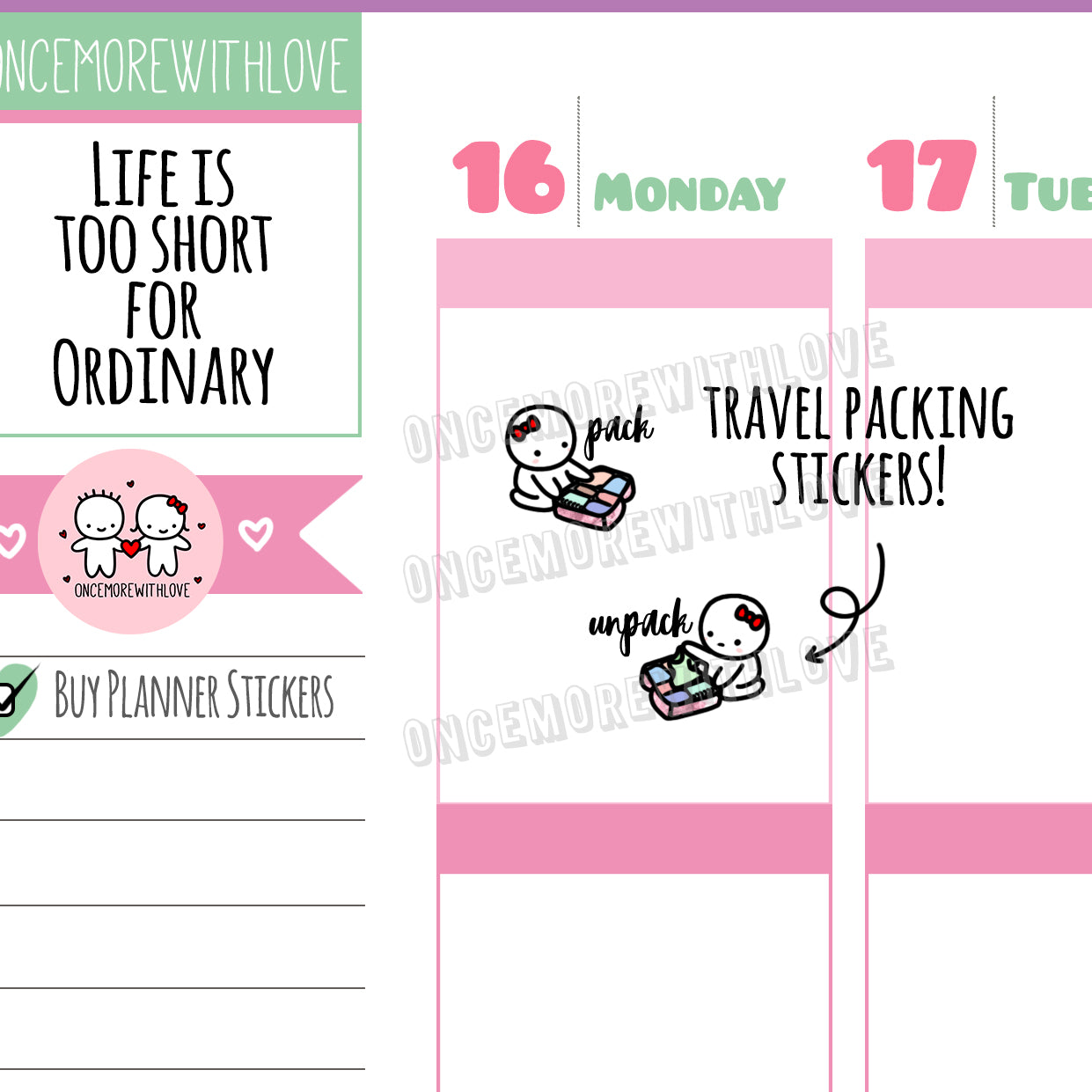 Munchkins - Pack and Unpack Luggage Reminder for Travel Planner Stickers (M401)