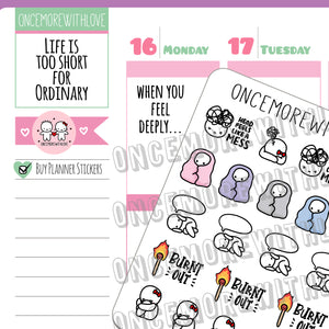 "Munchkins - ""I Feel Deeply"" Emotion, Stress, Anxiety Tracker Planner Stickers (M425)"