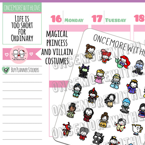 M429 - Magical Princesses and Villains Munchkin Planner Stickers (FINAL STOCK)
