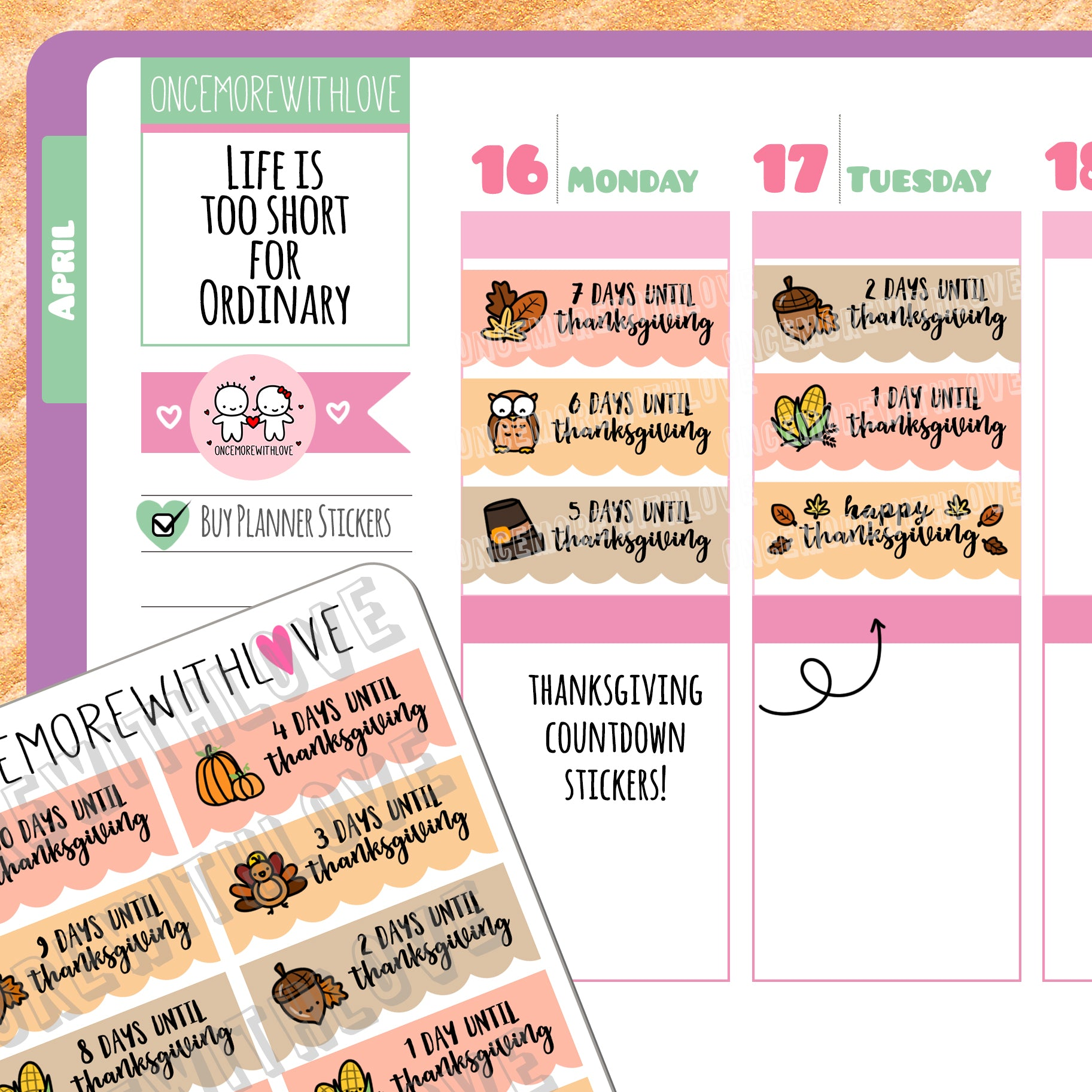 M433 - Thanksgiving Countdown Scalloped Banner Munchkin Planner Stickers