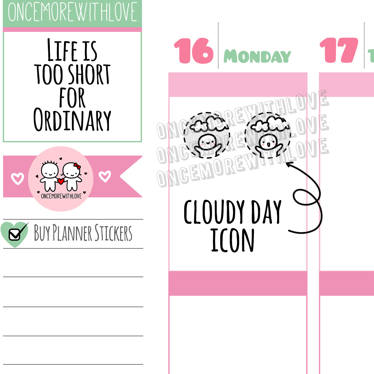 M441 - Mini - Cloudy Day Weather Icons Mini Sheet Munchkin Planner Stickers