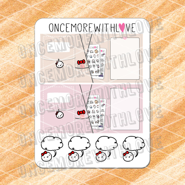 M445 - Foldover Travelers Notebook Speech Bubble Munchkin Planner Sticker Set