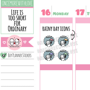 Munchkins Mini - Rainy Day Weather Icons Mini Sheet Planner Stickers (M447)
