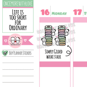 Munchkins Mini - Simply Gilded Washi Stack Mini Sheet Planner Stickers (M448)