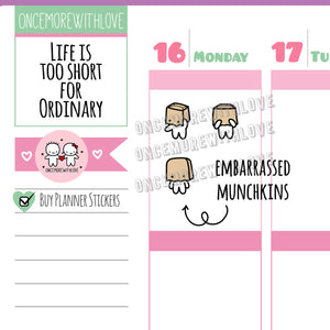 M453 - Paper Bag Embarrassed Munchkins Planner Stickers
