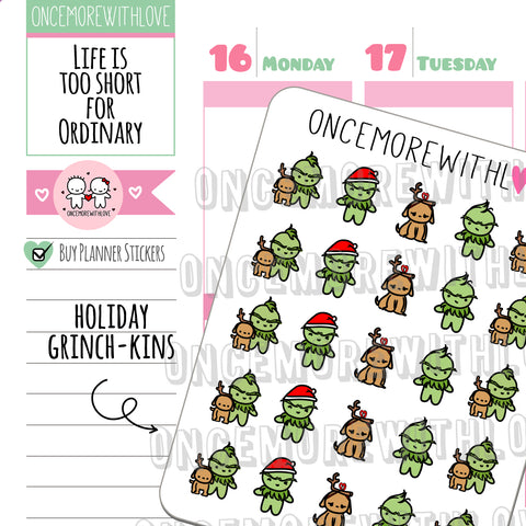 Munchkins - Grinch-kins Holiday Season Deco Planner Stickers (M455)
