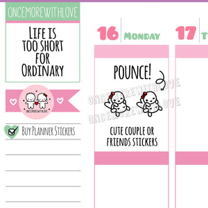 "Munchkins Mini - ""Pounce"" Cute Couple Relationship Planner Stickers (M472)"