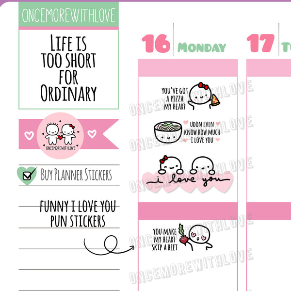 M476 - I Love You Romantic Couple Date Munchkin Planner Stickers