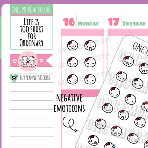 M478 - Negative Emotions Munchkin Emoticon Planner Stickers