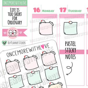 M482 - Pastel Sticky Note Munchkin Planner Stickers (FINAL STOCK)