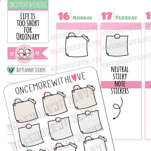 M483 - Neutral Colorway Sticky Note Munchkin Planner Stickers