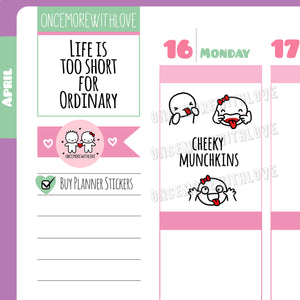 M487 - Cheeky Tongue Out Munchkin Planner Stickers