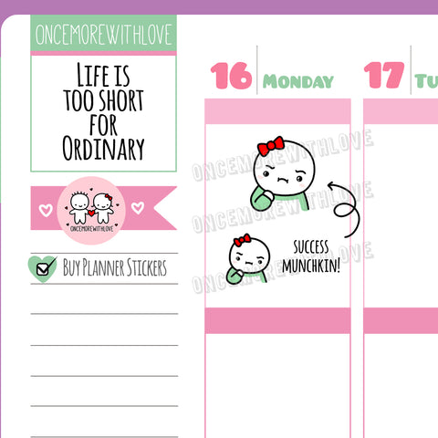 M488 - Green Shirt Success Munchkin Meme Planner Stickers (FINAL STOCK)