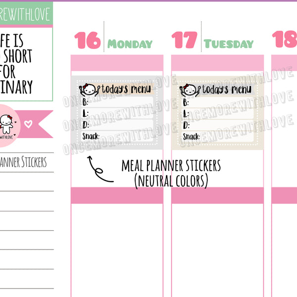 M494 - Neutral Meal Trackers 2.0 Munchkin Planner Stickers