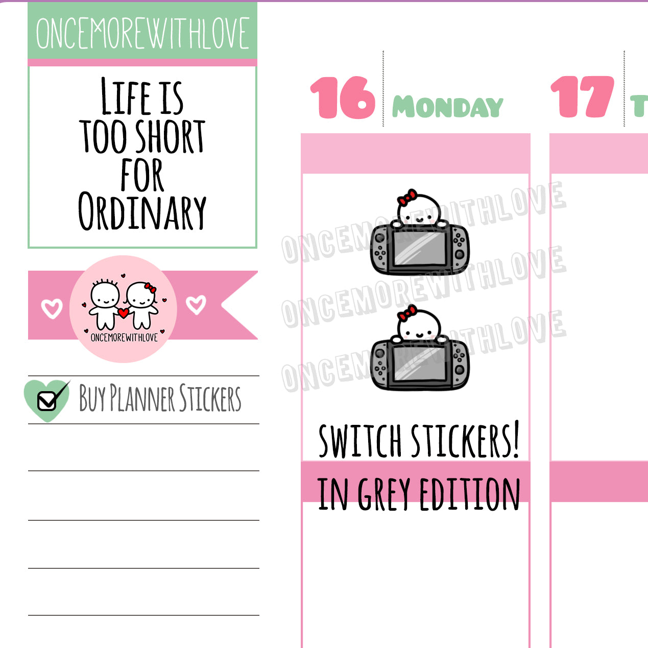M502 - Nintendo Switch Gamer Grey Edition Planner Stickers