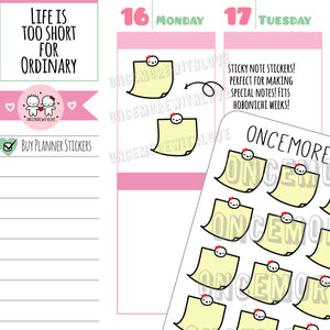 M507 - Original Yellow Sticky Note With Munchkins Planner Stickers (FINAL STOCK)