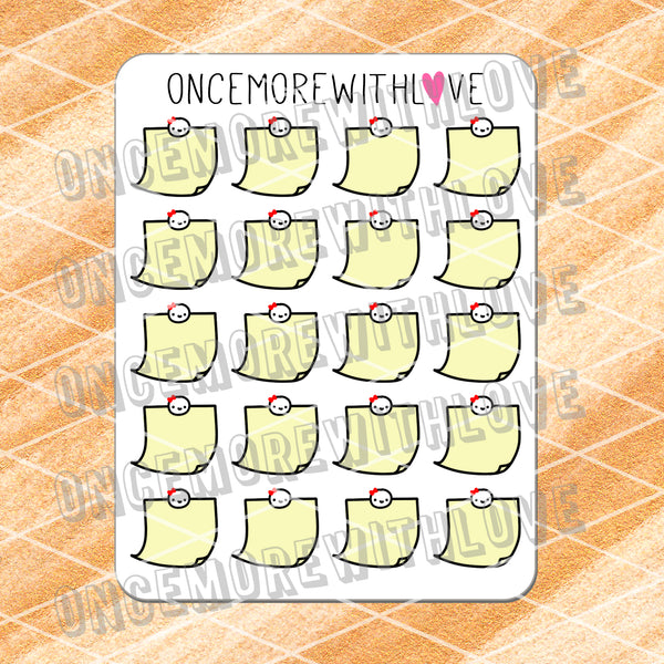M507 - Original Yellow Sticky Note With Munchkins Planner Stickers