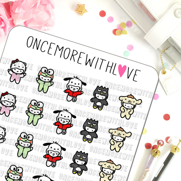M508 - San-Munchkin Japanese Character Costumes Part 1 Planner Stickers