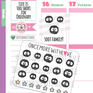 M512 - Mini - Totoro Soot Balls Dust Fairy Planner Stickers