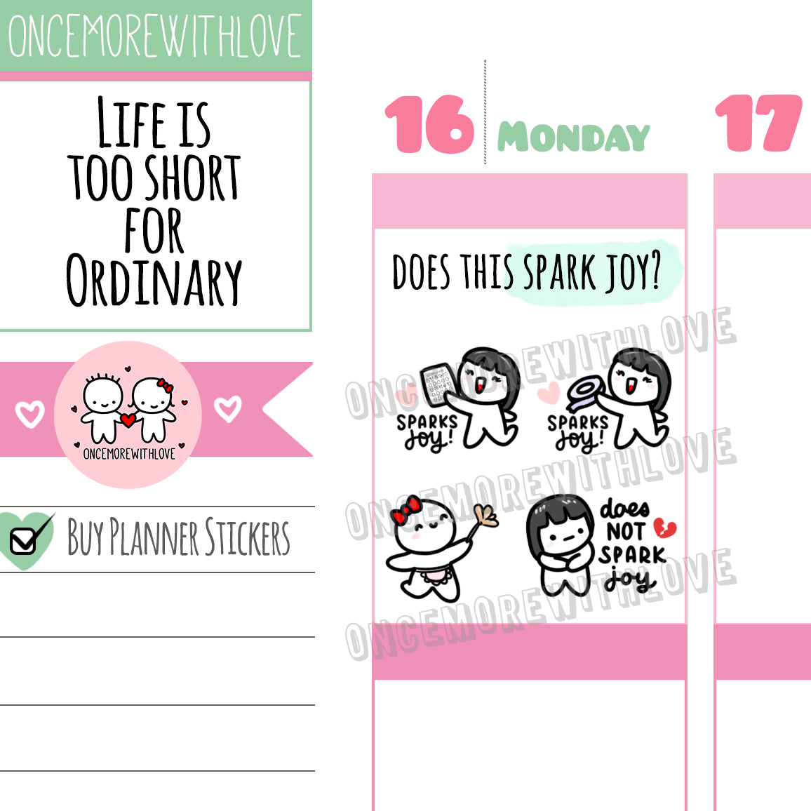 M525 - Does This Spark JOY? Konmari Spring Cleaning Planner Stickers