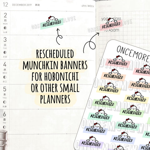 M526 - Rescheduled Munchkin Banner Planner Stickers for Hobonichi Weeks (FINAL STOCK)