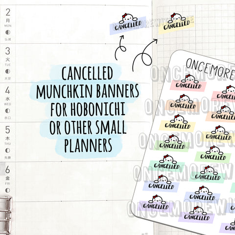 M527 - Cancelled Munchkin Banner Planner Stickers for Hobonichi Weeks (FINAL STOCK)