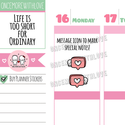 M545 - Message Bubble Heart Planner Stickers (FINAL STOCK)