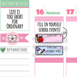 M565 - School Event Pastel 2.0 Back To School Planner Stickers