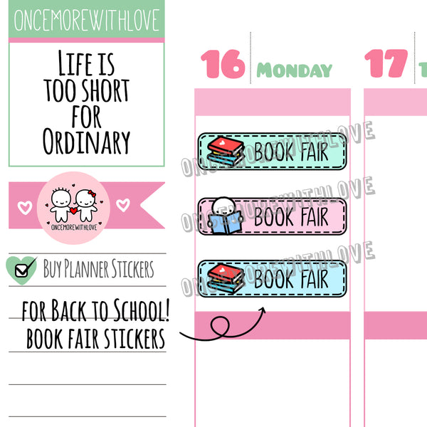 M566 - Book Fair Pastel 2.0 Back To School Planner Stickers