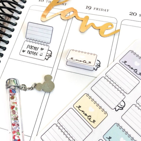 M585 - Colourful Pastel Foldover Notepad Planner Stickers