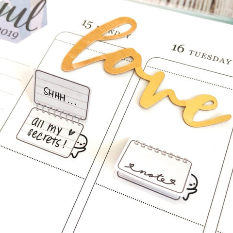 M586 -Neutral Pastel Foldover Notepad Planner Stickers