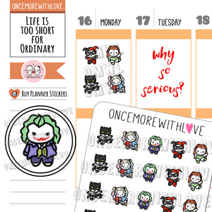 M606 - Why So Serious? Batman and Joker Fan Art Munchkin Planner Stickers (FINAL STOCK)