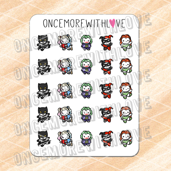 M606 - Why So Serious? Batman and Joker Fan Art Munchkin Planner Stickers
