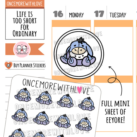 M617 - Mini - Eeyore Bodysuit Munchkin Planner Stickers (FINAL STOCK)