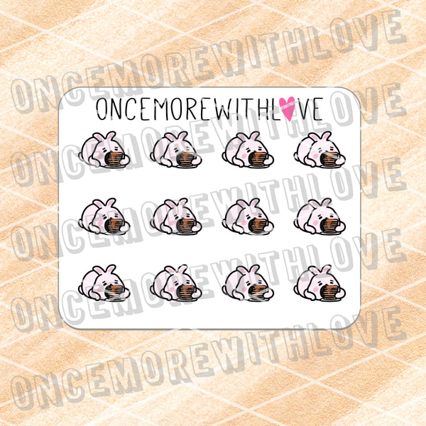 M621 - Mini - Stuffed Bunny Pancake Planner Stickers (FINAL STOCK)