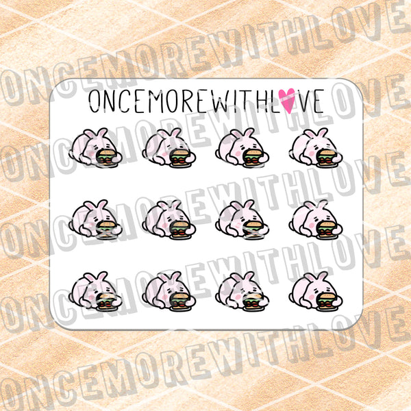 M622 - Mini - Stuffed Bunny Hamburger Planner Stickers (FINAL STOCK)