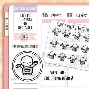 M631 - Mini - Doing Dishes Chores Planner Stickers
