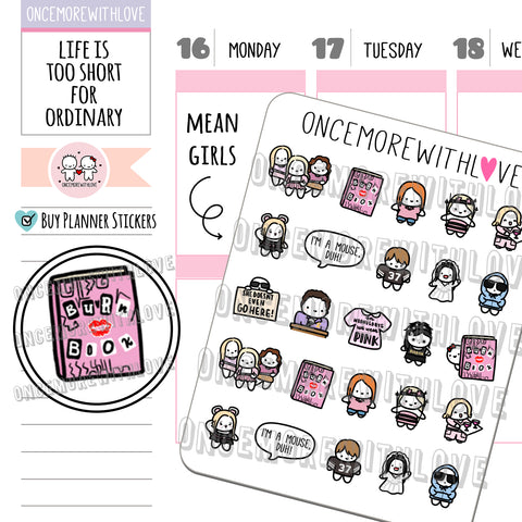 M637 - Beware of the Plastics Mean Girls Fan Art Planner Stickers