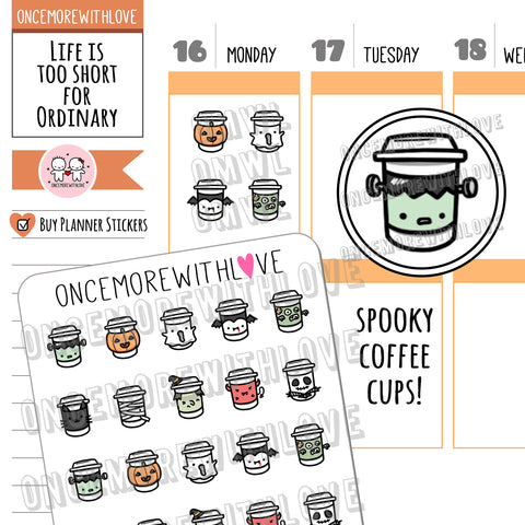 V146 - Spooky Halloween Coffee Cups Planner Stickers