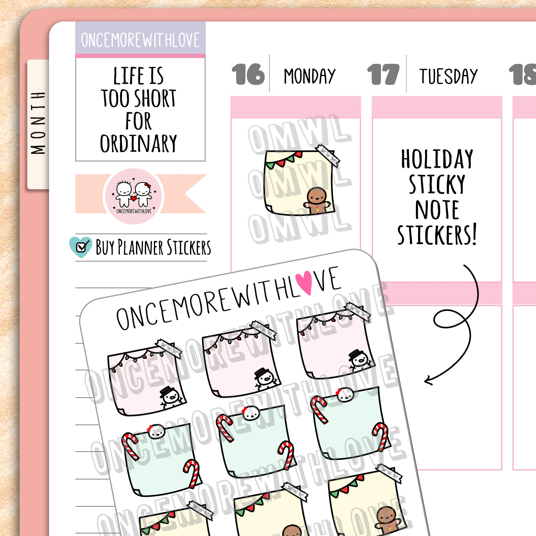 M662 - Holiday Sticky Notes Planner Stickers