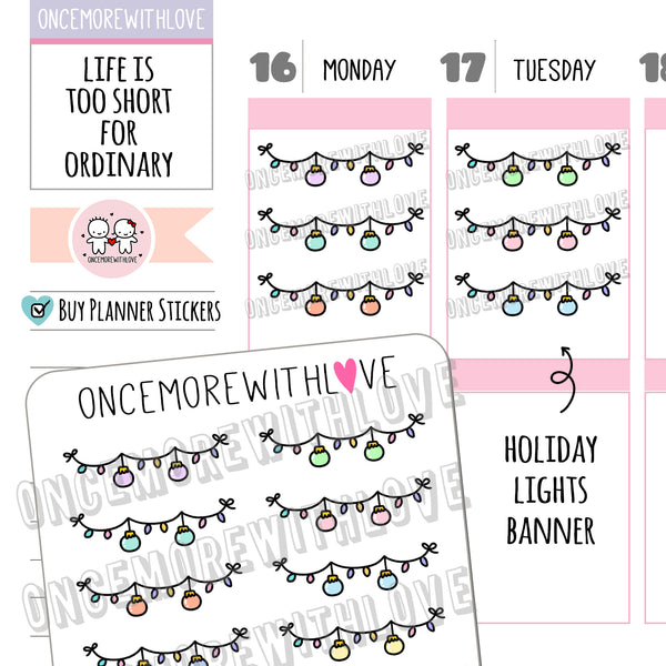 V147 - Holiday Lights Planner Stickers