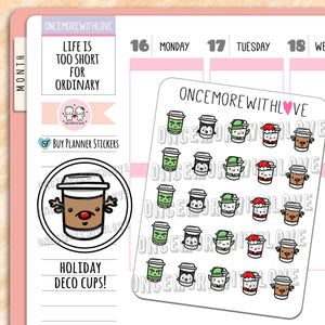 V148 - Cute Holiday Cups Planner Stickers (FINAL STOCK)