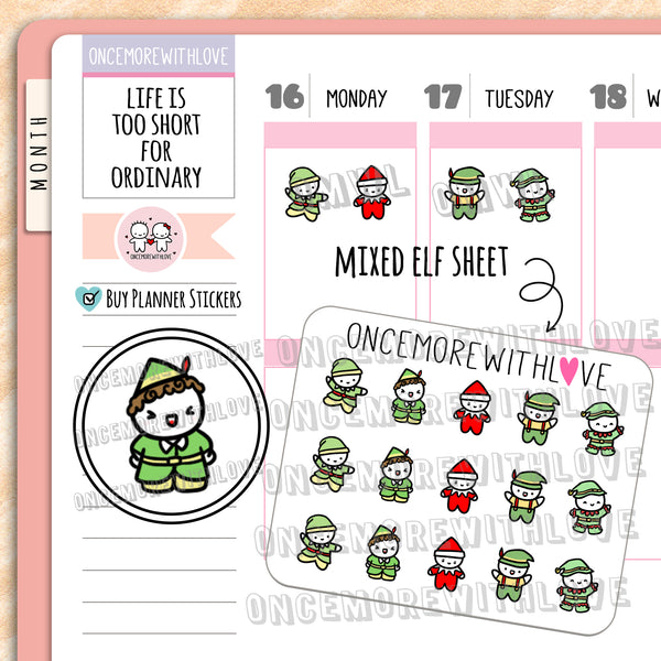 M675 - Mini - Mixed Elf Munchkins Planner Stickers