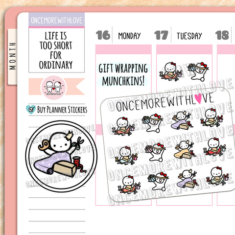 M677 - Mini - Holiday Gift Wrapping Munchkins Planner Stickers
