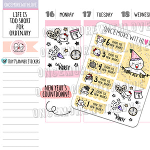 M678 - 2020 New Year's Countdown Planner Stickers (FINAL STOCK)