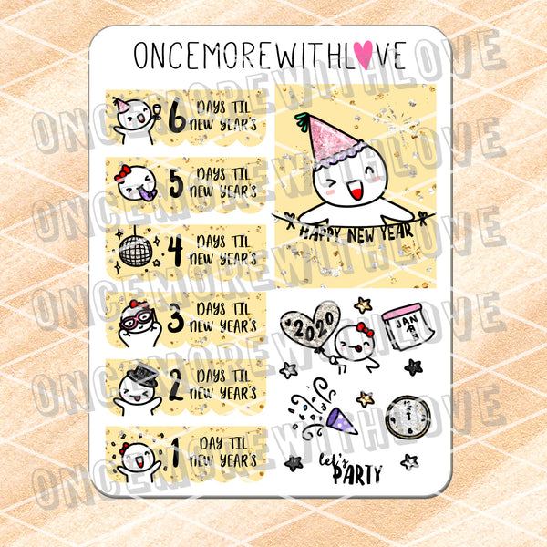 M678 - 2020 New Year's Countdown Planner Stickers
