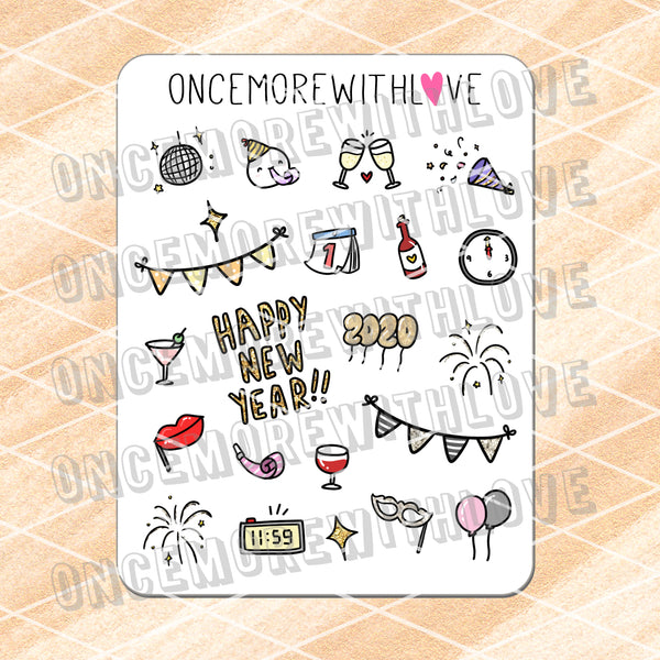M679 - 2020 New Year's Deco Planner Stickers